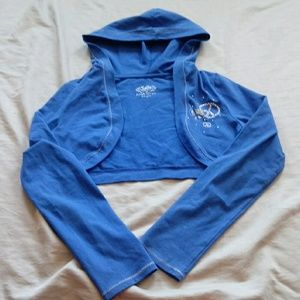 Justice size 12 blue long-sleeve hooded bolero